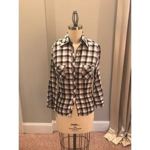 Bebe Black White and Grey Plaid Button Down Top